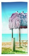 Thatched Roof Hut On Beach Beach Towel