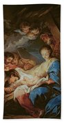 The Adoration Of The Shepherds Beach Towel by Charle van Loo
