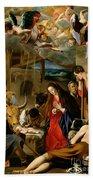 The Adoration Of The Shepherds Beach Towel by Fray Juan Batista Maino or Mayno