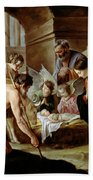 The Adoration Of The Shepherds Beach Towel by Louis Le Nain