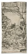 The Adoration Of The Shepherds: With The Lamp Beach Towel