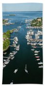 The Aerial View To The Mamaroneck Marina, Westchester County Beach Towel