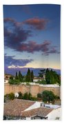 The Alhambra Palace And Albaicin At Sunset Beach Towel