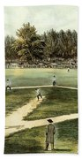 The American National Game Of Baseball Grand Match At Elysian Fields Beach Towel by Currier and Ives