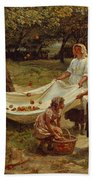 The Apple Gatherers Beach Towel by Frederick Morgan