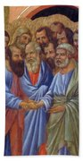 The Arrival Of The Apostles To The Virgin Fragment 1311 Beach Towel