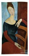 The Artist's Wife Beach Towel by Amedeo Modigliani