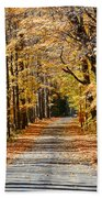 The Back Road In Autumn Beach Towel