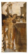 The Balcony, Spain Two Nude Bathers Standing On A Wharf Beach Towel