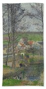 The Banks Of The Viosne At Osny In Grey Weather, Winter Beach Towel