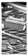 The Barber Shop 10 Bw Beach Towel by Angelina Vick