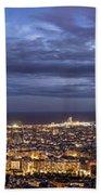 The Barcelona City Skyline, Spain Beach Towel