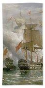 The Battle Of Cape St Vincent Beach Towel by Richard Bridges Beechey