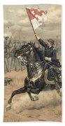 The Battle Of Cedar Creek Virginia Beach Towel by Thure de Thulstrup