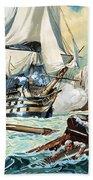 The Battle Of Trafalgar Beach Towel by English School
