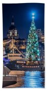 The Beautiful, Freshly Renovated Katarina Church And The Gigantic Christmas Tree In Stockholm Beach Towel