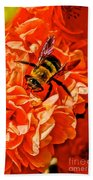 The Bee And The Flower Beach Towel