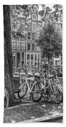 The Bicycles Of Amsterdam In Black And White Beach Towel