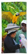 The Bird Lady At Ardastra Gardens Beach Towel