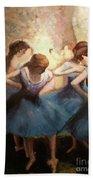 The Blue Ballerinas - A Edgar Degas Artwork Adaptation Beach Towel by Rosario Piazza