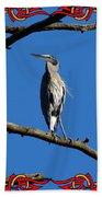 The Blue Heron Claimed He Was Framed Beach Towel