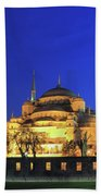 The Blue Mosque At Night Istanbul Turkey Beach Towel