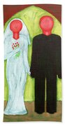 The Blushing Bride And Groom Beach Towel
