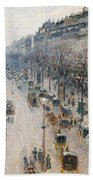 The Boulevard Montmartre On A Winter Morning, 1897  Beach Towel