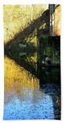 The Bridge On The River And Its Shadow. Beach Towel