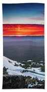 The Burning Clouds At Crater Lake Beach Towel