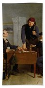 The Card Players Beach Towel by  Richard Caton Woodville
