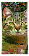 The Cat Who Loved Flowers 1 Beach Towel
