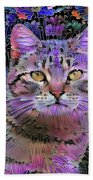 The Cat Who Loved Flowers 3 Beach Towel