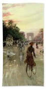 The Champs Elysees - Paris Beach Towel by Georges Stein