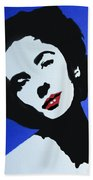 The Charming Lady In Black And White With Red Lips Beach Towel
