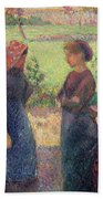 The Chat Beach Towel by Camille Pissarro