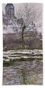 The Church At Vetheuil Under Snow Beach Towel by Claude Monet