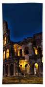 The Coleseum In Rome At Night Beach Towel