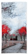 The Crimson Trees Beach Towel
