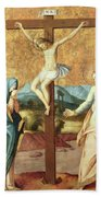 The Crucifixion With The Virgin And St John The Evangelist Beach Towel