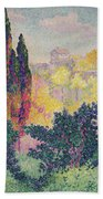 The Cypresses At Cagnes Beach Towel by Henri-Edmond Cross