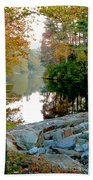 The Dam At Peaks Of Otter Beach Towel