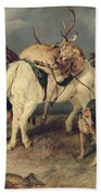 The Deerstalkers Return Beach Towel by Sir Edwin Landseer