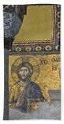 The Deesis Mosaic With Christ As Ruler At Hagia Sophia Beach Sheet
