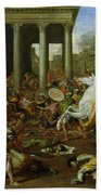 The Destruction Of The Temples In Jerusalem By Titus Beach Towel by Nicolas Poussin