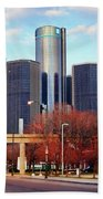 The Detroit Renaissance Center Beach Towel by Gordon Dean II