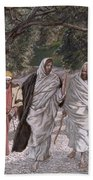 The Disciples On The Road To Emmaus Beach Towel by Tissot