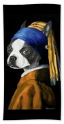 The Dog With A Pearl Earring Beach Towel