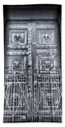 The Door At The Parthenon In Nashville Tennessee Black And White Beach Towel