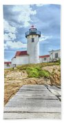 The Eastern Point Lighthouse In Gloucester Beach Towel